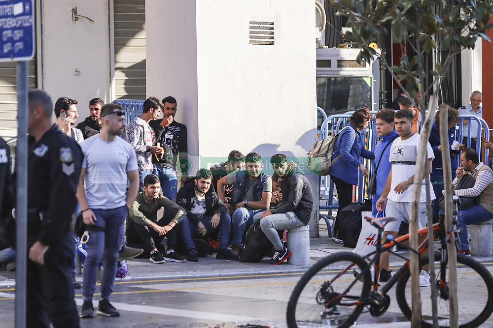 October 8, 2018 - Thessaloniki, Greece - Refuges, most of them Kurds, settled up a makeshift spot for sleeping in Aristotelous square in Thessaloniki city downtown, as they are waiting outside of the police station to be officially arrested and get their temporary official documents that allows them to travel within the European Union. Migrant flows are increased the past days in Thessaloniki city. They are mostly transferred via smugglers from the Greek Turkish borders. All the facilities for refugees in Thessaloniki are working over their capacity. (Credit Image: © Nicolas Economou/NurPhoto via ZUMA Press)