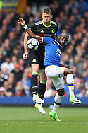 Gary Cahill of Chelsea and Enner Valencia of Everton during the English Premier League match at Goodison Park , Liverpool. Picture date: April 30th, 2017. Photo credit should read: Lynne Cameron/Sportimage