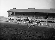 French left centre back, Casaux, gains the ball in a lovely ballet type movement, with Irish star back O'Reilly, coming up on the left,..Irish Rugby Football Union, Ireland v France, Five Nations, Landsdowne Road, Dublin, Ireland, Saturday 18th April, 1959,.18.4.1959, 4.18.1959,..Referee- D G Walters, Welsh Rugby Union, ..Score- Ireland 9 - 5 France, ..Irish Team, ..N J Henderson, Wearing number 15 Irish jersey, Full Back, N.I.F.C, Rugby Football Club, Belfast, Northern Ireland, ..A J O'Reilly, Wearing number 14 Irish jersey, Right Wing, Old Belvedere Rugby Football Club, Dublin, Ireland, and, Leicester Rugby Football Club, Leicester, England, ..M K Flynn, Wearing number 13 Irish jersey, Right Centre, Wanderers Rugby Football Club, Dublin, Ireland, ..D Hewitt, Wearing number 12 Irish jersey, Left centre, Queens University Rugby Football Club, Belfast, Northern Ireland,..N H Brophy, Wearing number 11 Irish jersey, Left wing, University College Dublin Rugby Football Club, Dublin, Ireland, ..M A F English, Wearing number 10 Irish jersey, Outside Half, Bohemians Rugby Football Club, Limerick, Ireland,..A A Mulligan, Wearing number 9 Irish jersey, Scrum Half, London Irish Rugby Football Club, Surrey, England, ..B G Wood, Wearing number 1 Irish jersey, Forward, Garryowen Rugby Football Club, Limerick, Ireland, ..A R Dawson, Wearing number 2 Irish jersey, Captain of the Irish team, Forward, Wanderers Rugby Football Club, Dublin, Ireland, ..S Millar, Wearing number 3 Irish jersey, Forward, Ballymena Rugby Football Club, Antrim, Northern Ireland,..W A Mulcahy, Wearing number 4 Irish jersey, Forward, University College Dublin Rugby Football Club, Dublin, Ireland, ..M G Culliton, Wearing number 5 Irish jersey, Forward, Wanderers Rugby Football Club, Dublin, Ireland, ..N Murphy, Wearing number 6 Irish jersey, Forward, Cork Constitution Rugby Football Club, Cork, Ireland,..P J A O' Sullivan, Wearing  Number 7 Irish jersey, Forward, Galwegians Rugby Football Club, Galway, Ireland