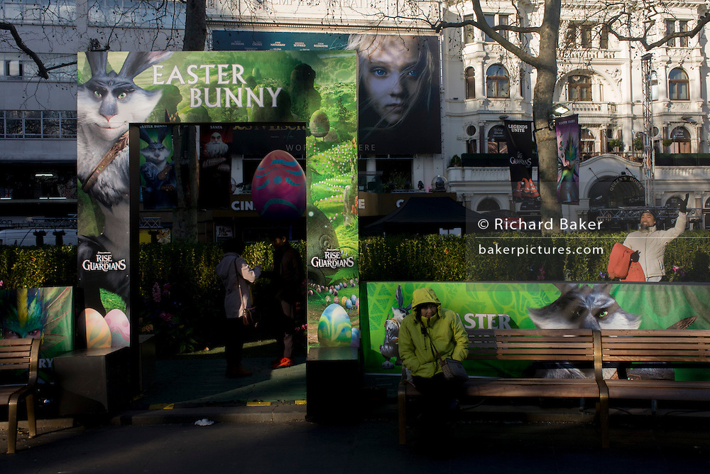 """Fantasy theme characters' faces from """"Rise of the Guardians"""" in London's Leicester Square. The DreamWorks production is a 2012 3D computer-animated fantasy-adventure film based on William Joyce's The Guardians of Childhood book series and The Man in the Moon short film by Joyce and Reel FX."""