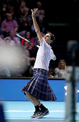 Roger Federer wears a kilt as he plays against Andy Murray in a singles match during the Andy Murray Live Event at the SSE Hydro, Glasgow.