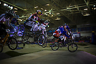 #2 (DAUDET Joris) FRA leads his heat at the UCI BMX Supercross World Cup in Manchester, UK