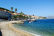 View of shoreline, Korcula town, island of Korcula, Croatia