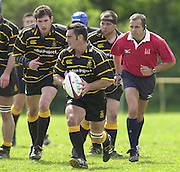 Esher, Surrey. ENGLAND.<br /> <br /> Photo Peter Spurrier<br /> 04/05/2002<br /> Sport - Rugby Union<br /> Tetley's County Championship 1 st Rd<br /> Surrey vs Cornwall<br /> Scrum half Ricky Pellow look's to feed the attack.