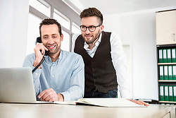 Colleague business telephone appointment desk