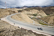 Triumph motocycle in Morocco in the Atlas Mountains