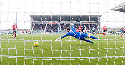 Dunfermline's Sean Murdoch can't stop Falkirk's Myles Hippolyte second goal. Falkirk 2 v 1 Dunfermline, Scottish Championship game played 15/10/2016, at The Falkirk Stadium.