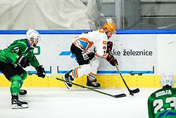 Aleksandar Magovac of HK SZ Olimpija and Rafael Rotter of Black Wings Linz during ice hockey match between HK SZ Olimpija Ljubljana and Steinbach Black Wings Linz in bet-at-home ICE Hockey League, on September 26, 2021 in Hala Tivoli, Ljubljana, Slovenia. Photo by Morgen Kristan / Sportida