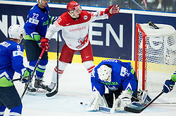 Julian Jakobsen of Denmark and Gasper Kroselj of Slovenia during Ice Hockey match between Slovenia and Denmark at Day 11 in Group B of 2015 IIHF World Championship, on May 11, 2015 in CEZ Arena, Ostrava, Czech Republic. Photo by Vid Ponikvar / Sportida