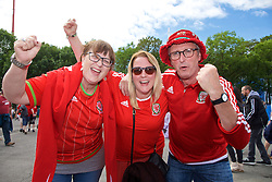 LENS, FRANCE - Thursday, June 16, 2016: Wales supporters outside the stadium before the UEFA Euro 2016 Championship Group B match against England at the Stade Bollaert-Delelis. (Pic by Paul Greenwood/Propaganda)