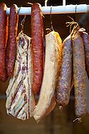 Hungarian Mangalicsa (Mangalitsa) Salamis and Kolbász pig meat ptoducts. Food photos.