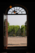 View through door to vineyard. Chateau Brane Cantenac, Margaux, Medoc, bordeaux, France