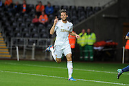 Swansea city's Michu celebrates after scoring.Pre-season friendly match, Swansea city v Blackpool at the Liberty Stadium in Swansea, South Wales on Tuesday 7th August 2012. pic by Andrew Orchard, Andrew Orchard sports photography,