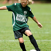 Reagan Printy, 9, controls a pass during a Port City Soccer match Saturday September 6, 2014 at Olsen Farm Fields. (Jason A. Frizzelle)