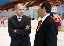 President Slavko Kanalec and Sports director Zvone Suvak at HK Acroni Jesenice Team roaster for 2009-2010 season,  on September 03, 2009, in Arena Podmezaklja, Jesenice, Slovenia.  (Photo by Vid Ponikvar / Sportida)