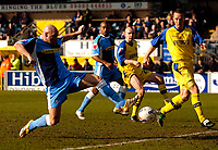 Photo: Alan Crowhurst.<br />Wycombe Wanderers v Torquay United. Coca Cola League 2. 18/03/2006. <br />Tommy Mooney (L) goes close for Wycombe.