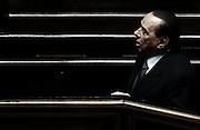 Sivlio Berlusconi in Senato durante la dichiarazione di voto per la mozione di sfiducia al Ministro degli Interni Angelino Alfano<br /> Roma - 19 luglio 2013. Matteo Ciambelli / OneShot