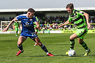 Forest Green Rovers Scott Laird(3) takes on Chesterfield's Bradley Barry(27) during the EFL Sky Bet League 2 match between Forest Green Rovers and Chesterfield at the New Lawn, Forest Green, United Kingdom on 21 April 2018. Picture by Shane Healey.