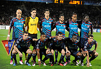 FOOTBALL - CHAMPIONS LEAGUE 2010/2011 - GROUP STAGE - GROUP B - OLYMPIQUE LYONNAIS v SL BENFICA - 20/10/2010 - PHOTO JEAN MARIE HERVIO / DPPI - TEAM LYON (BACK ROW LEFT TO RIGHT : CRIS / HUGO LLORIS / MAXIME GONALONS / LISANDRO LOPEZ / JIMMY BRIAND / PAPE DIAKHATE . FRONT ROW : ANTHONY REVEILLERE / MICHEL BASTOS / MIRALEM PJANIC / ALY CISSOKHO / YOANN GOURCUFF)