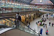 As the UK government urged that all Britons should avoid non-essential travel abroad in order to combat the Coronavirus pandemic in Britain, a few travellers walk and wait through the concourse of St. Pancras rail station, the London terminus for Eurostar services to mainland Europe, on 17th March 2020, in London, England.
