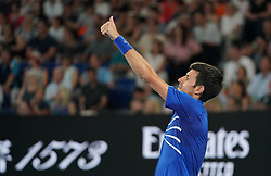 MELBOURNE, Jan. 17, 2019  Novak Djokovic of Serbia gestures during the men's singles second round match against Jo-Wilfried Tsonga of France at the Australian Open in Melbourne, Australia, Jan. 17, 2019. (Credit Image: © Bai Xuefei/Xinhua via ZUMA Wire)
