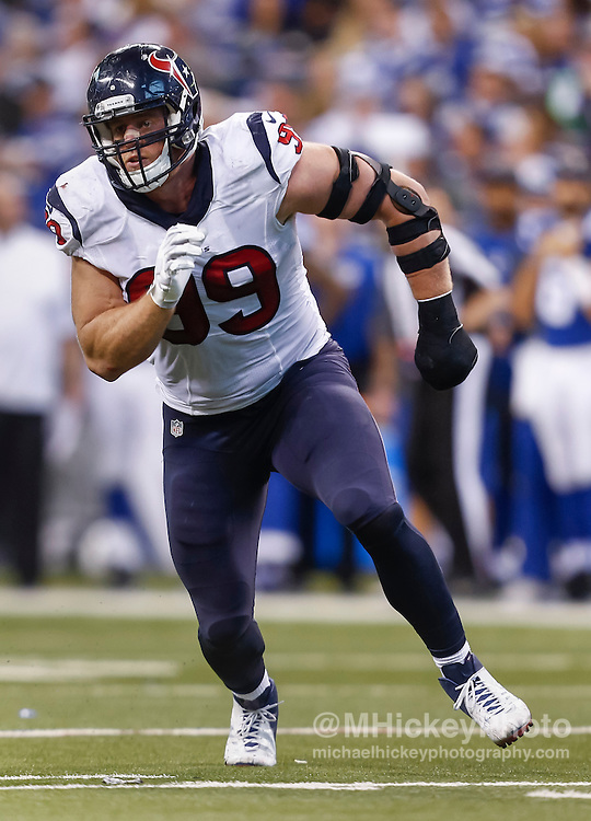 INDIANAPOLIS, IN - DECEMBER 20: J.J. Watt #99 of the Houston Texans rushes against the Indianapolis Colts at Lucas Oil Stadium on December 20, 2015 in Indianapolis, Indiana.  (Photo by Michael Hickey/Getty Images) *** Local Caption *** J.J. Watt