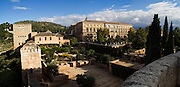 Panoramic view  of the Palace of Carlos V and the landscaped grounds of La Alhambra, Granada, Andalusia, Spain.