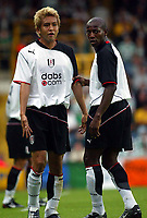 Photograph: Scott Heavey.<br />Fulham V Celtic. Pre-season friendly. 17/07/2003.<br />Junichi Inamoto and Luis Boa Morte line up a wall.
