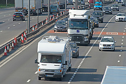 © Licensed to London News Pictures 30/04/2021. Dartford, UK. A camper on the A282 Dartford Crossing approach in Kent. Motorists have been warned to expected delays on the road this May Bank holiday weekend as a total of 14 million getaway journeys are possible after a poll by the RAC. Saturday could be the busiest day on the roads in years due to coronavirus lockdown easing. Photo credit:Grant Falvey/LNP