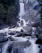 Vernal Fall and the Merced River swollen with spring snow melt, Yosemite National Park, California.