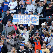 The New York Mets fans celebrate with their team after closing out the regular season with a 1-0 win over the Washington Nationals  during the New York Mets Vs Washington Nationals MLB regular season baseball game at Citi Field, Queens, New York. USA. 4th October 2015. Photo Tim Clayton