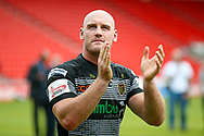 Hull FC loose forward and captain Gareth Ellis (13) applauds the fans during the Challenge Cup 2017 semi final match between Hull RFC and Leeds Rhinos at the Keepmoat Stadium, Doncaster, England on 29 July 2017. Photo by Simon Davies.