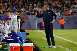 May 15, 2019 - Foxborough, MA, U.S. - FOXBOROUGH, MA - MAY 15: Chelsea FC head coach Maurizio Sarri speaks to Chelsea FC assistant coach Gianfranco Zola during the Final Whistle on Hate match between the New England Revolution and Chelsea Football Club on May 15, 2019, at Gillette Stadium in Foxborough, Massachusetts. (Photo by Fred Kfoury III/Icon Sportswire) (Credit Image: © Fred Kfoury Iii/Icon SMI via ZUMA Press)