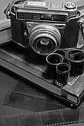 Retina IIF old style rangefinder camera with Schneider lens with strips of film in the foreground