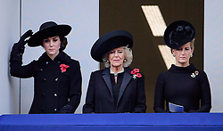 © Licensed to London News Pictures. 13/11/2016. London, UK.  L to R CATHERINE DUCHESS OF CAMBRIDGE,  CAMILLA DUCHESS OF CORNWALL and SOPHIE DUCHESS OF WESSEX attend a Remembrance Day Ceremony at the Cenotaph war memorial in London, United Kingdom, on November 13, 2016 . Thousands of people honour the war dead by gathering at the iconic memorial to lay wreaths and observe two minutes silence. Photo credit: Ben Cawthra/LNP