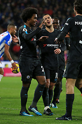 12th December 2017 - Premier League - Huddersfield Town v Chelsea - Willian of Chelsea (L) celebrates with teammate Eden Hazard after scoring their 2nd goal - Photo: Simon Stacpoole / Offside.