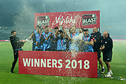 Worcestershire the winners trophyduring the final of the Vitality T20 Finals Day 2018 match between Worcestershire rapids and Sussex Sharks at Edgbaston, Birmingham, United Kingdom on 15 September 2018.