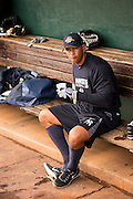 New York Yankees Alex Rodriguez before appearing in the first game since hip surgery with the minor league Charleston RiverDogs at Joseph P. Riley Jr. Stadium July 2, 2013 in Charleston, South Carolina.