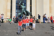 Wales fans take in the sights of Paris during the afternoon ahead of the UEFA Euro 2016, last 16 , Wales v Northern Ireland at the Parc des Princes in Paris, France on Saturday 25th June 2016, pic by  Andrew Orchard, Andrew Orchard sports photography.