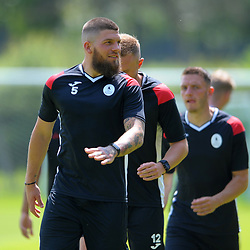 Skipper Shane Sutton leads the warm ups as AFC Telford United return to pre-season training at Lilleshall National Sports Centre on Saturday, June 29, 2019.<br /> <br /> Free for editorial use only<br /> Picture credit: Mike Sheridan/Ultrapress<br /> <br /> MS201920-003