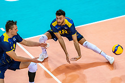 Jacob Link of Sweden, Dardan Lushtaku of Sweden in action during the CEV Eurovolley 2021 Qualifiers between Sweden and Netherlands at Topsporthall Omnisport on May 14, 2021 in Apeldoorn, Netherlands