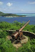 WW II artillary gun, Bora Bora, French Polynesia<br />
