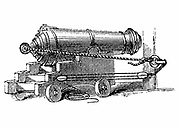 Carronade, short piece of naval ordnance with large calibre chamber, like a mortar. Name said to come from Carron Ironworks, Scotland. Wood engraving, c1884.