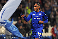 Cardiff City's Kenneth Zohore celebrates after scoring his teams 1st goal. EFL Skybet championship match, Cardiff city v Leeds Utd at the Cardiff city stadium in Cardiff, South Wales on Tuesday 26th September 2017.<br /> pic by Carl Robertson, Andrew Orchard sports photography.