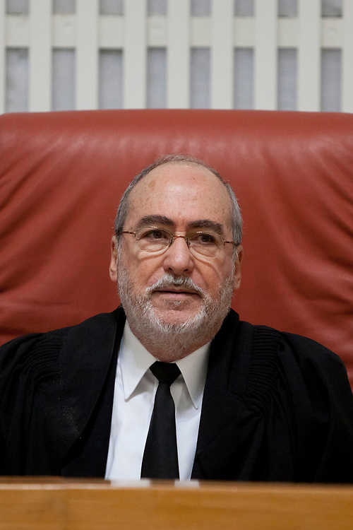 A portrait of Supreme Court justice Asher Grunis, at the courtroom of the Supreme Court in Jerusalem, on January 2, 2012.