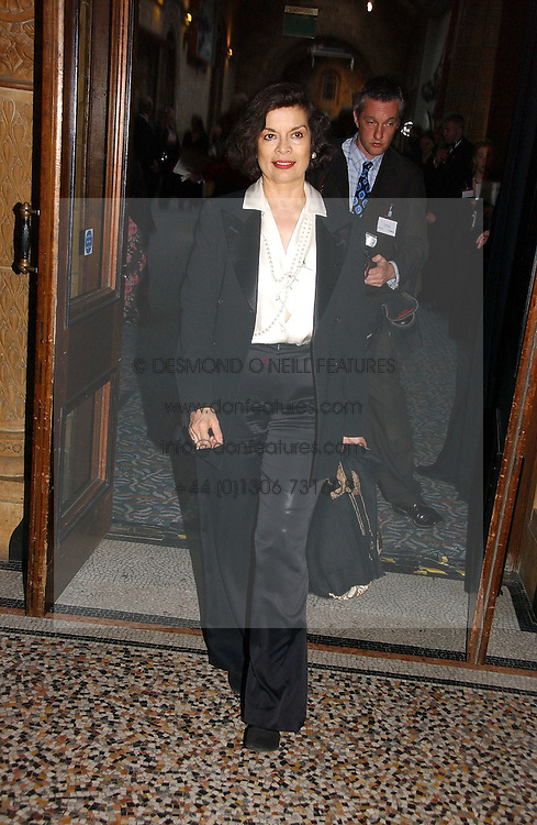 BIANCA JAGGER at a gala dinner in the presence of HM Quenn Silvia of Sweden and HM Queen Noor of Jordan in aid of the charity Mentor held at the Natural History Museum, Cromwell Road, London on 23rd May 2006.<br /><br />NON EXCLUSIVE - WORLD RIGHTS