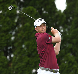 June 22, 2018 - Cromwell, Connecticut, United States - Daniel Berger tees off the 9th hole during the second round of the Travelers Championship at TPC River Highlands. (Credit Image: © Debby Wong via ZUMA Wire)