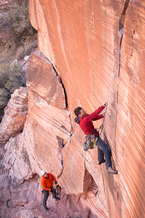 Tim Banfield leading Yin and Yang, 5.11a at Red Rock Canyon, Las Vegas, Nevada