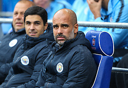 September 22, 2018 - Cardiff City, England, United Kingdom - Pep Guardiola manager of Manchester City.during the Premier League match between Cardiff City and Manchester City at Cardiff City Stadium,  Cardiff, England on 22 Sept 2018. (Credit Image: © Action Foto Sport/NurPhoto/ZUMA Press)