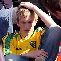 Photo: Daniel Hambury.<br /> Fulham v Norwich City.<br /> FA Barclays Premiership.<br /> 15/05/2005.<br /> A Norwich fan looks gutted as his side are relegated.